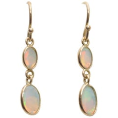 Double drop Faceted Opals and 18K Gold Earrings