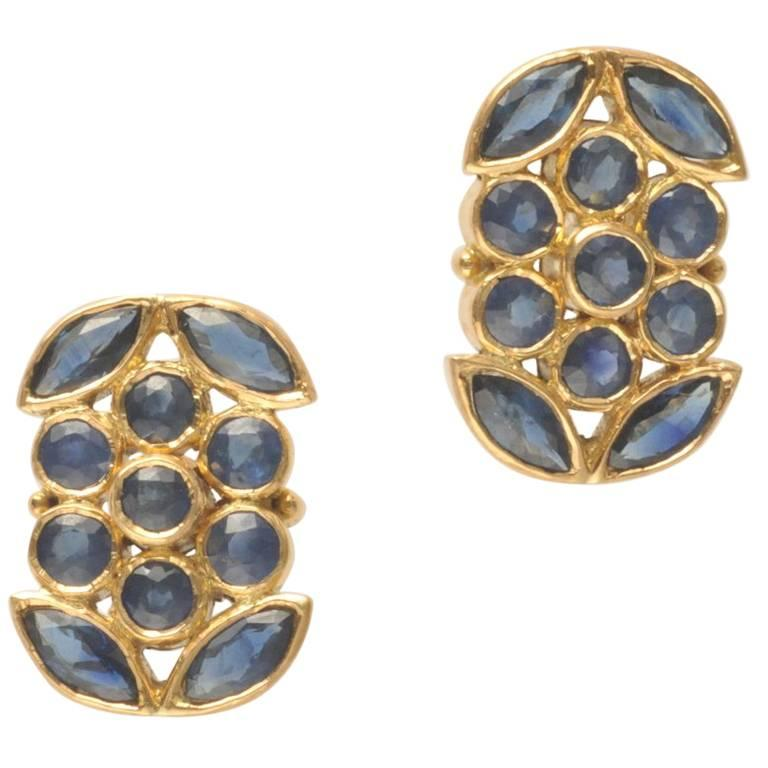 Faceted Mosaic of Blue Sapphires and 18 Karat Gold Stud Earrings