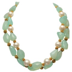 Tumbled and Faceted Chalcedony, 22 Karat Gold and South Sea Pearl Necklace