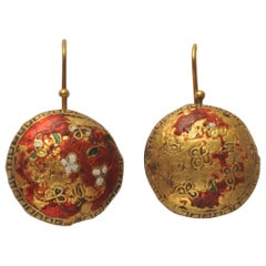 Rare Late 19th Century Enamel and 2 Karat Gold Earrings