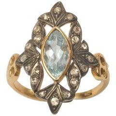 Marquise Cut Aquamarine with Pave` Set Diamonds