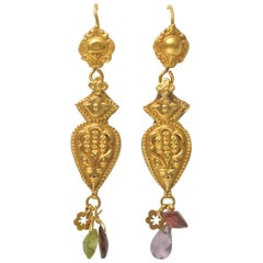 22 Karat Gold Embossed Earrings with Faceted Semi-Precious Drops
