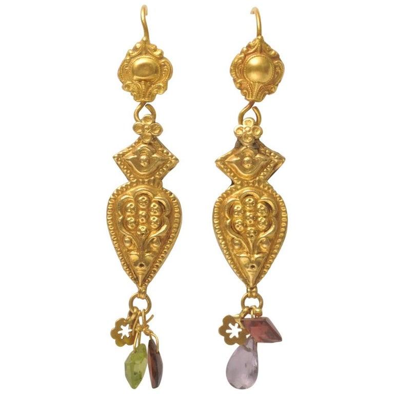 22 Karat Gold Embossed Earrings with Faceted Semi-Precious Drops