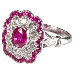 Ruby Diamond Cluster Ring