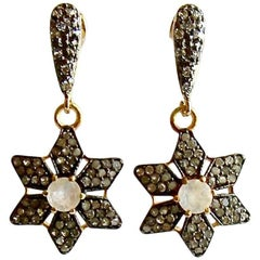 Moonstone Pave Diamond Star Earrings
