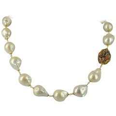 Decadent Jewels Sapphire and Baroque Pearl Necklace