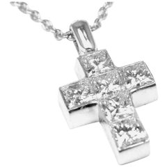Cartier Diamond Cross Platinum Pendant Necklace