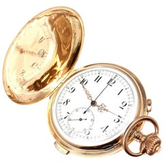 Rose Gold Hunting Cased Quarter Repeater Vintage Chronograph Pocket Watch