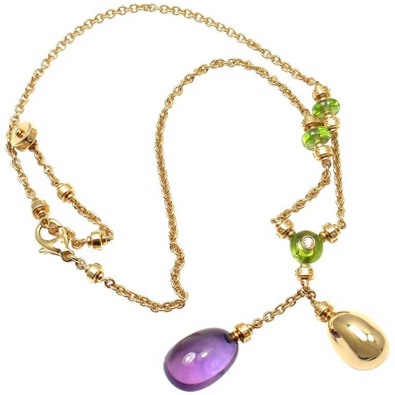 Bulgari Sassi Mediterranean Diamond Peridot Amethyst Yellow Gold Necklace