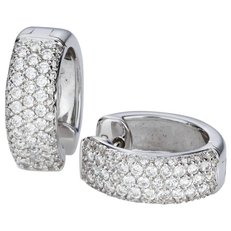 Pave Set Diamond 18 carat White Gold Huggie Hoop  Earrings