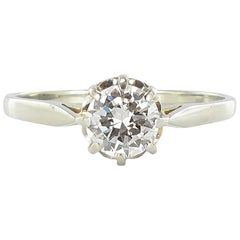 French Art Deco 0.60 Carat 18 Carat White Gold Solitaire Engagement Ring