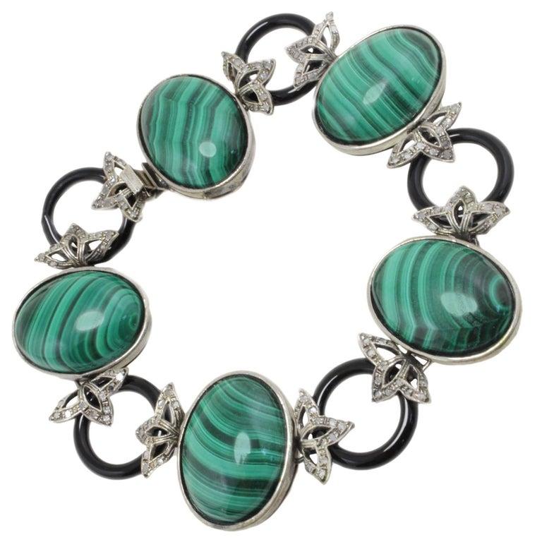 Diamonds, Onyx, Natural Malachite and Gold Link Bracelet