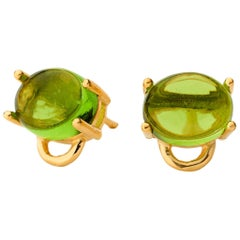 MAVIADA's 18k yellow gold Marmaris Mini Green Amethyst Vermeil stud Earrings