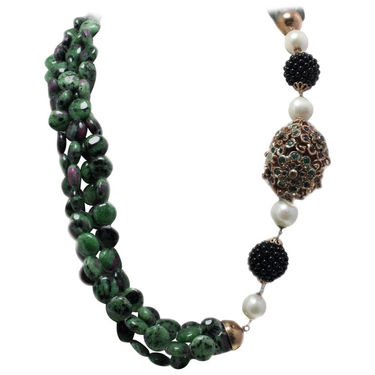 Gold Silver Sapphires Onyx Zoisite with Rubies and Pearl Necklace