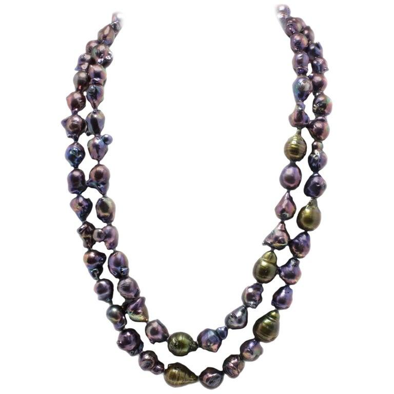Natural Baroque Dark Pearls Necklace