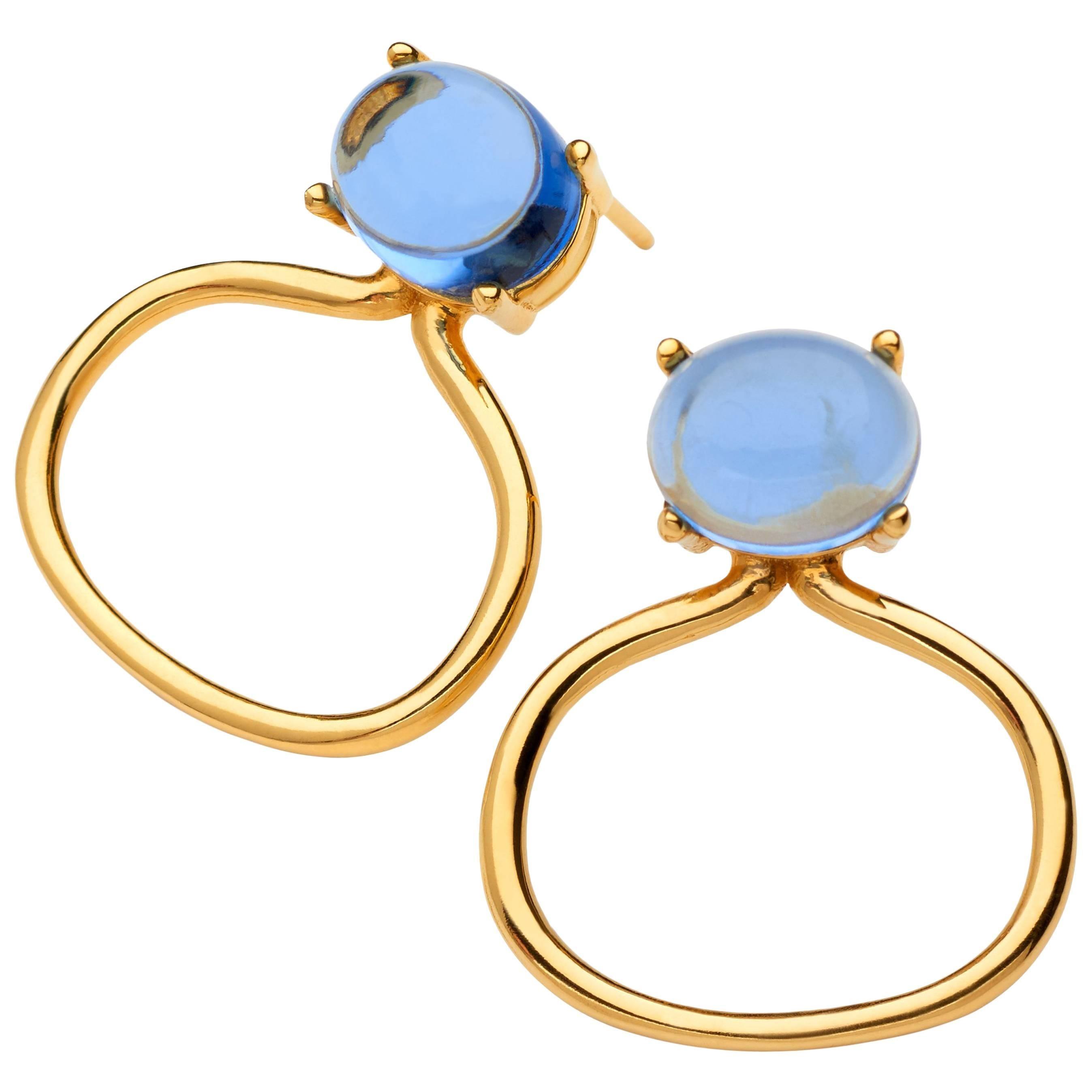 18kt yellow gold Vermeil Tanzanite blue Quartz gold hoop modern Drop Earrings