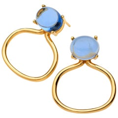 18kt yellow gold Vermeil Tanzanite blue Quartz gold hoop modern Drop Earrings