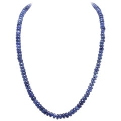 Kyanite Beaded and Silver Clasp Necklace