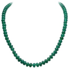 Natural Green Beaded Agate Necklace and Silver Clasp
