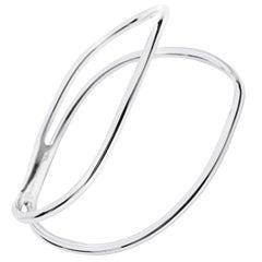MAVIADA's Double Curved Bracelet White Rhodium Vermeil Stylish Modern Bracelet