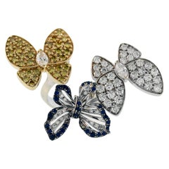 Three Butterflies Ring with Yellow White Diamonds and Blue Sapphires