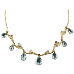Retro 18 Karat Gold Link Statement Necklace with Aquamarine Pendant Drops