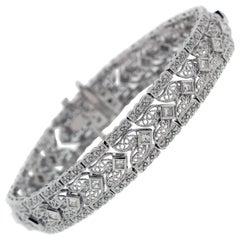 Princess and Round Cut Diamond Open Work Bracelet