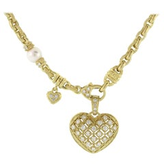 Judith Ripka Chain Necklace with Diamond and Gold Heart Enhancer