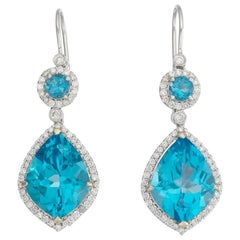 Diamond Halo Topaz Dangle Drop Earrings