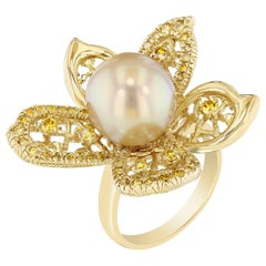 Golden South Sea Pearl Yellow Diamond Cocktail Ring