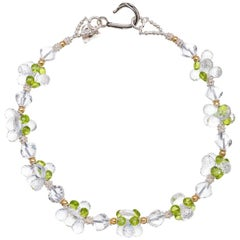Crystal Quartz Peridot Sterling Silver Gold Necklace