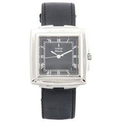 Corum Steel Quadratus Leather Strap Wristwatch