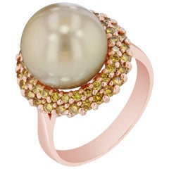 0.82 Carat Golden South Sea Pearl Yellow Diamond Cocktail Ring