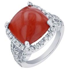 10.27 Carat Coral Diamond Cocktail Ring