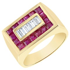 2.57 Carat Men's Ruby Diamond Yellow Gold Ring