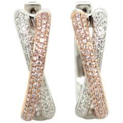 Natural Fancy Pink and White Diamond Hoop Earrings