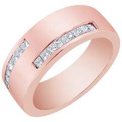 0.72 Carat Men's Diamond Rose Gold Wedding Band