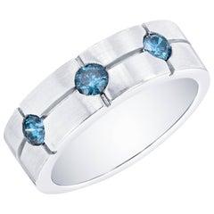 0.65 Carat Blue Diamond Men's Band