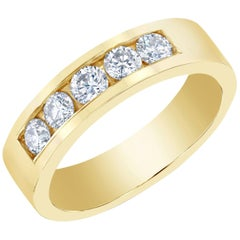 0.95 Carat Men's Diamond Band Yellow Gold