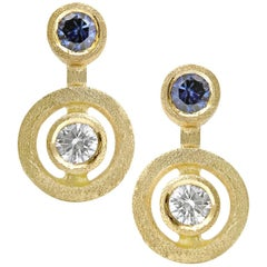 White Diamond Blue Sapphire Satin Gold Handmade Stud Earrings