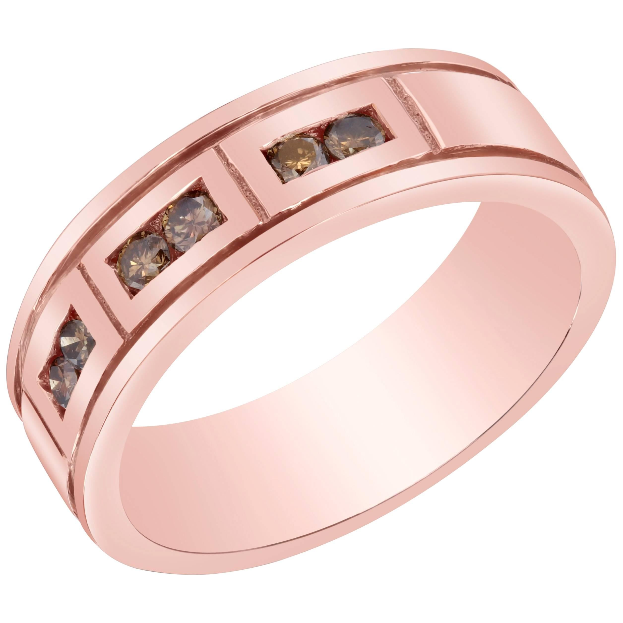 Men\'s Rose Gold Champagne Diamond Band For Sale at 1stdibs