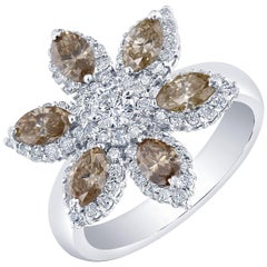 2.05 Carat Natural Brown and White Diamond Cocktail Ring