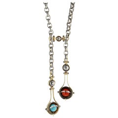Elie Top Mecanique Celeste Collier Two Gouttes or, Corail, Turquoise, Diamants