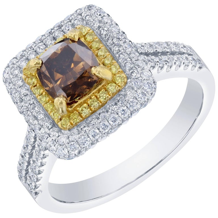 1.98 Carat Natural Brown Yellow and White Diamond Engagement Ring For Sale