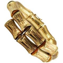 Modernist 18 Karat Yellow Gold Bamboo Style Bypass Bracelet