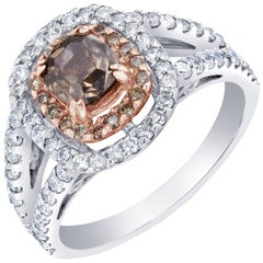2.08 Carat Brown and White Diamond Ring