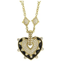 Judith Ripka Two-Piece Black and White Diamond Heart Pendant with Diamond Chain
