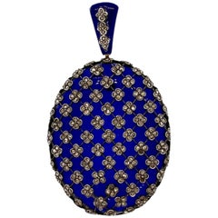 Rare French Victorian Blue Glass Rose Cut Diamond Gold Pendant
