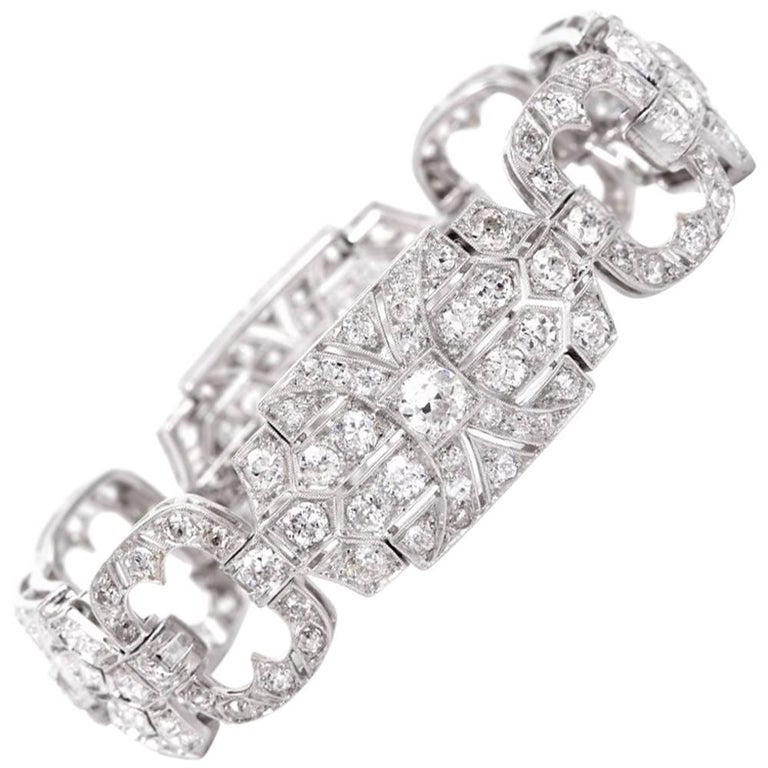 Antique Art Deco 12.32 Carat Diamond Platinum Wide Link Bracelet