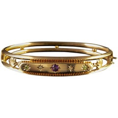 Antique Victorian Suffragette Gold Bangle Dated Chester, 1904